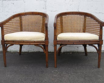 Hollywood Regency Pair of Caned Barrel Shape Side Chairs 8783