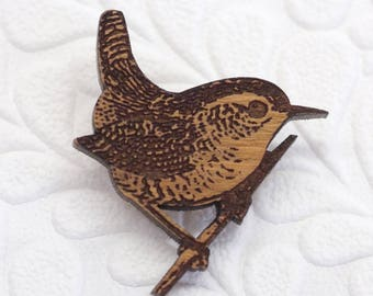 Wren Brooch, Wooden Bird Brooch, Wren Bird Jewellery, Wren Jewelry, Garden Bird Pin, Wren Bird Gift, Bird Jewellery