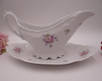 Large 1930s Antique Vintage New Habsburg Austria Gravy Boat with underplate