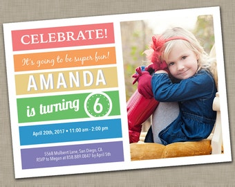 Rainbow Birthday Invitation with Picture / First Birthday / 2nd / 3rd / Birthday Invitation / Girl's Birthday / Simple