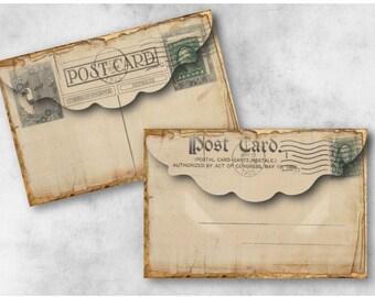 Vintage Postcard Envelopes Digital Collage Sheet Download -946- Digital Paper - Instant Download Printables