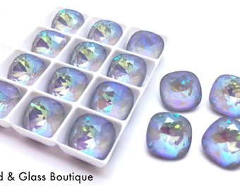 Swarovski Crystal Cushion Square #4470, 10mm, 4 pieces, Ultra Arctic AB (*Discontinued Color*)