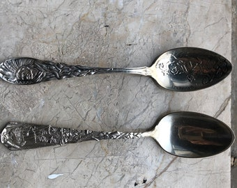 2 Sterling Commemorative Spoons, Miles Standish + Providence Indian Treaty