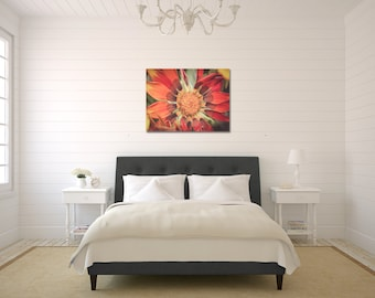 Red Orange Flower Gallery Canvas Wrap Ready To Hang Large Wall Art Bedroom Living Room Kitchen Art Print Flower Petals Photography Decor