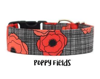 Girl Dog Collar, Poppy Dog Collar, Floral Dog Collar, Flower Dog Collar, Pretty Dog Collar, Red (Add Upgrade for Metal Buckle/Martingale)