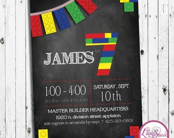 Lego birthday party invitation with chalkboard background, colorful lego bricks - print yourself or order prints