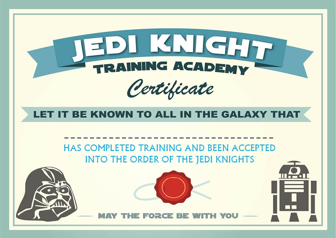 Instant dl jedi knight certificate star wars birthday party zoom yadclub Gallery