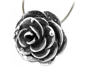 Silver Rose Necklace, Solid Sterling Silver - Long Lasting - High Quality - Gift For Her - Bridesmaid - Valentine's Day Present - Rickson 37