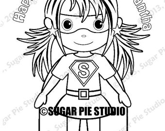 Personalized Printable SuperHero Girl Birthday Party Favor childrens kids coloring page book activity PDF or JPEG file