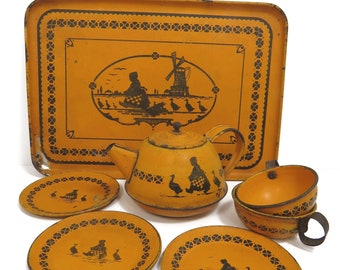 Tea Party Dish Set, Wolverine Dutch Girl with Geese, 8 Piece Lithograph Tin, Orange