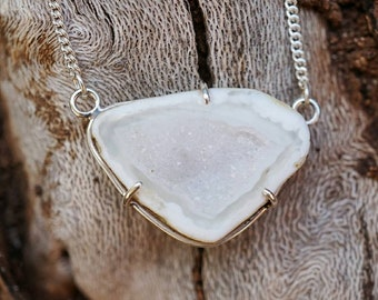 White Druzy Geode Necklace in Sterling Silver