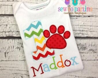 Baby Boy 1st Birthday Shirt - 1st Birthday Puppy Shirt - Dog birthday Shirt - Paw Print Birthday Outfit - First Birthday Shirt Boy - ANY AGE