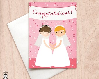 Congratulations Banner - Bride and Bride - Wedding Party - Same Sex Wedding - Lesbian Wedding Congratulations Greeting Card