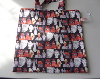 Small Tote Bag with Dr Who Characters Design