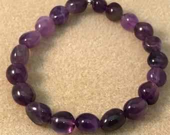 Amethyst Bead Bracelet, Amethyst Bracelet, Stretch Bracelets, Beaded Bracelets, Amethyst Jewelry, Gemstone Bracelets, Boho Bracelets