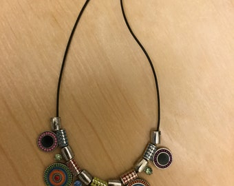 Multi-colored Metal and Leather Necklace