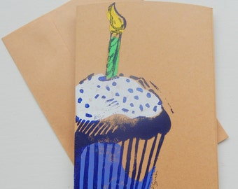 Cupcake Birthday Card, Celebration card, Block-Printed Card, Cupcake  Card