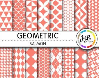 Geometic Digital Paper, Salmon, Red, Red and White, Tribal, Triangles, Digital Paper, Digital Download, Scrapbook Paper, Digital Paper Pack