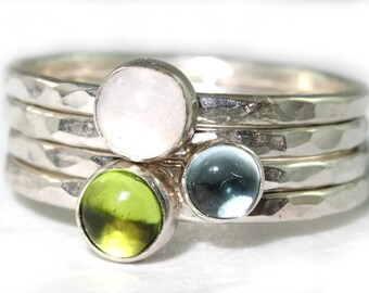 Custom Set of Four Gemstone Sterling Silver Stacking Rings