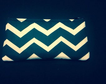 Black and White Horizontal Chevron Pencil Case / Zipper Pouch, Coin Purse, or Wristlet #99