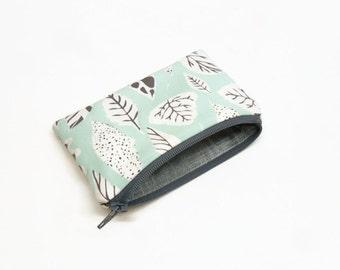 change purse coin purse zipper pouch zipper bag leaves aqua gray