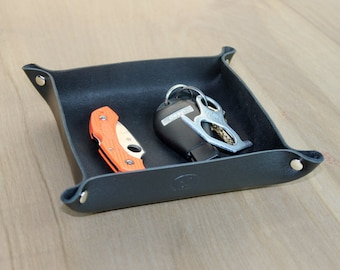 Black Leather Valet Tray - Custom Personalization Available