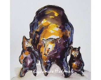 Mama Bear with two cubs archival quality limited edition print 5x7 or 8x10