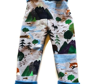 Reversible Grow with me Joggers 1 to 3 Years ~ Ready to Ship, toddler clothes, pants, forest animals