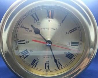 Ship's Clock Soild Brass Quartz