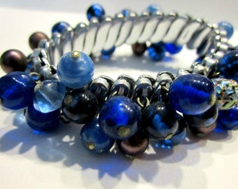 Vintage Cha Cha Expansion Bracelet Blue Glass Beads Silver Tone Expandable Bracelet Casual Jewelry