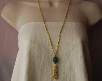 Green Aventurine Long Statement Necklace - Tassel Pendant Necklace - Gold Chain Green Pendant Necklace