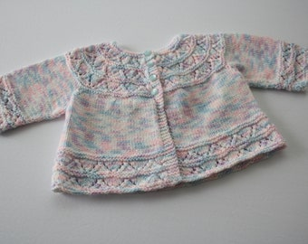 Knitted Baby Sweater, Vintage Handmade, Hand Knitted Baby Jacket, Sweater, coat, for infant girl, about 3 months old