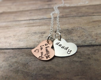 Remembrance necklace-handstamped-personalized necklace-sterling silver-copper-always in my heart