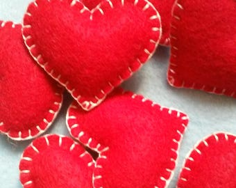Valentine's Bowl Fillers Red Felt Hearts