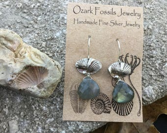 Brachiopod Fine Silver Earrings with Labradorite Briolettes on Sterling Silver Hooks