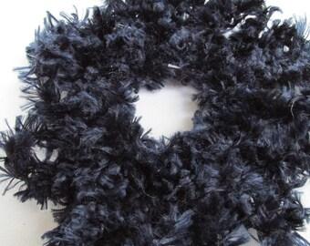 Navy scrunchie, crochet hair scrunchie, dark blue ponytail, navy blue hair tie, blue scrunchies, cheerleader pompom scrunchies, scrunchy
