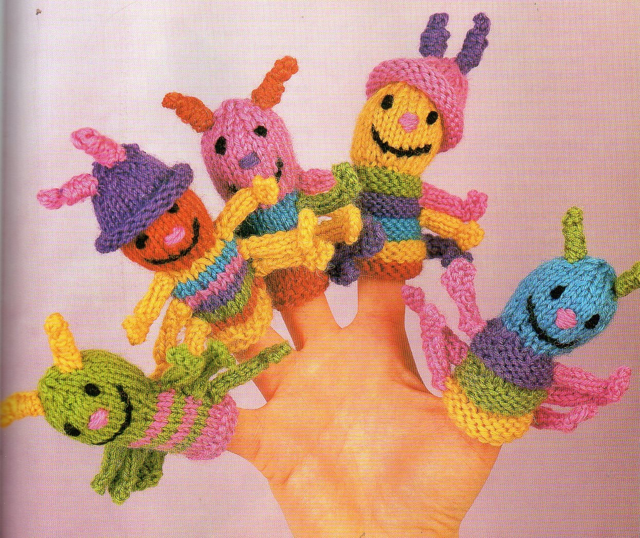 5 Caterpillar Finger Puppets Knitting Pattern Baby Child Toddler Toy ...