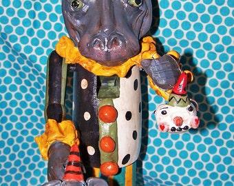 Whimsical Circus Carnival Hippo Hippopotomus Nutcracker Ooak Folk Art Nut Cracker w Elephant