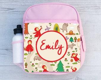 Personalised Kids Little Red Riding Hood Backpack - Custom Girls Children's School Bag - Printed Name