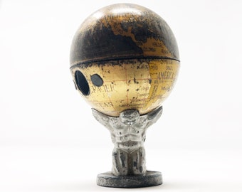 Antique German World Globe and Atlas Figurine - Circa 1918 - The Weight of the World - Simplified Geography - Pencil Sharpener Globe