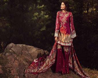 Saadia Asad Original Mughal Tale New Winter Collection 3 Piece Embroidered Khaddar Suit - Full Embroidered - MADE to order