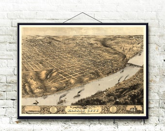 Kansas City Missouri 1869 Bird's Eye View Map Fine Art Print
