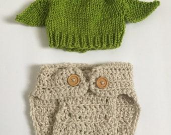 Newborn Yoda Inspired Hat with Matching Diaper Cover, Newborn Yoda Costume, Star Wars Inspired Hat, Newborn Yoda Hat, Yoda Photo Prop