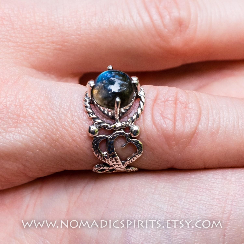 Half bezel filigree Labradorite sterling silver 925 ring