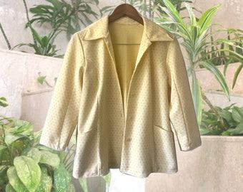 Yellow 70s Polka Dot Polyester 3/4 Sleeve Shirt Jacket size Medium