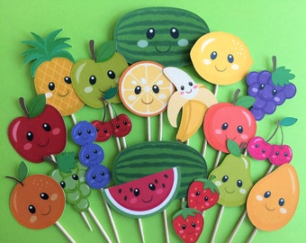Fruit cupcake toppers, fruits toppers, fresh fruits cake topper, banana, apple, orange, blueberries, strawberries, watermelon, grapes