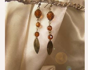 earring beads chic Brown