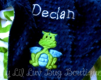 Personalized baby blanket- dragon baby blanket-midnight blue with jade green and chevron- large stroller blanket- name baby blanket