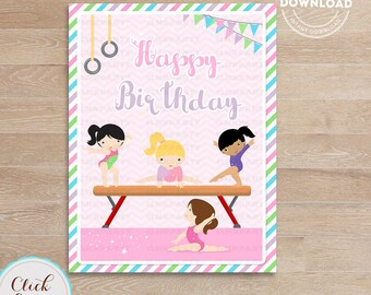 Gymnastic Happy Birthday Sign, Gymnastic Party Printable Sign, Door Sign, Birthday party decorations, Party supplies, INSTANT Download