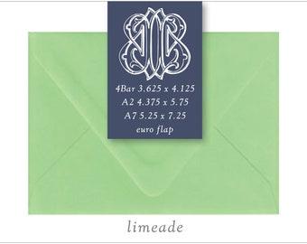 Limeade | 10 Blank Euro Envelopes | A7 • A2 • RSVP